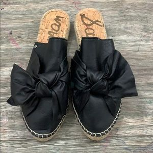 Sam Edelman Black Leather Bow Espadrille Slides